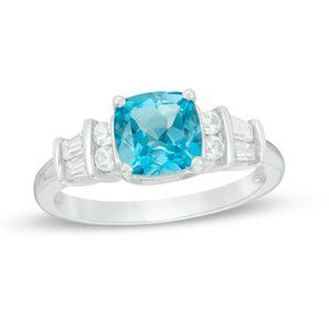 Jewelry - Sterling Silver Genuine Blue Topaz Cocktail Ring